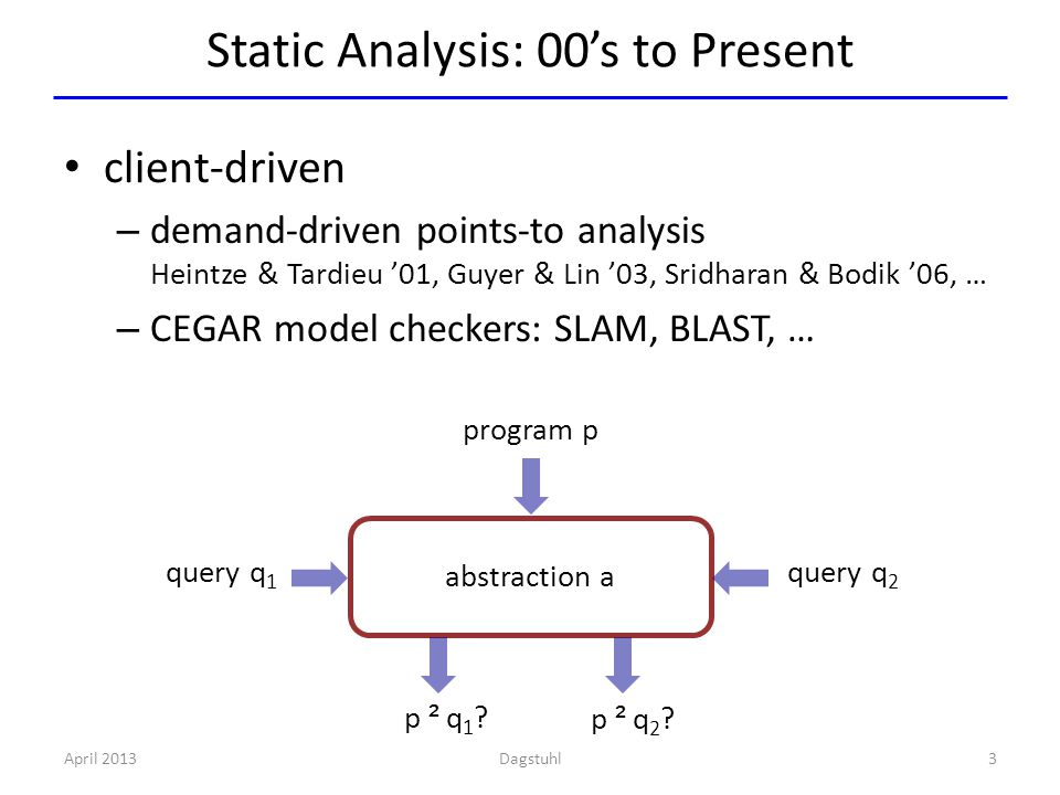 p ² q1?p ² q1? p ² q2?p ² q2? Static Analysis: 00's to Present April 20133 client-driven – demand-driven points-to analysis Heintze & Tardieu '01, Guy