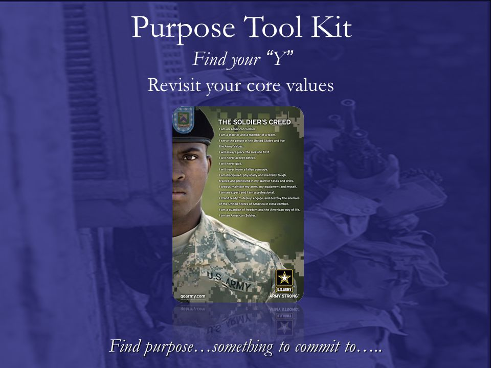 Find purpose…something to commit to….. Revisit your core values Purpose Tool Kit Find your Y