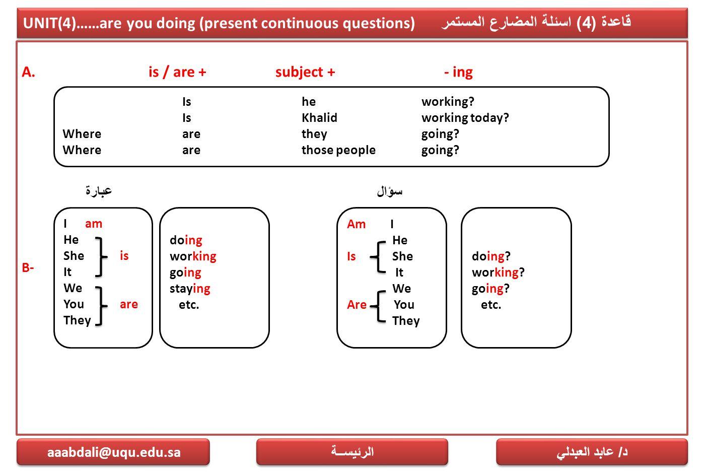 UNIT(4)……are you doing (present continuous questions) قاعدة (4) اسئلة المضارع المستمر A. is / are + subject + - ing B- د / عابد العبدلي aaabdali@uqu.e