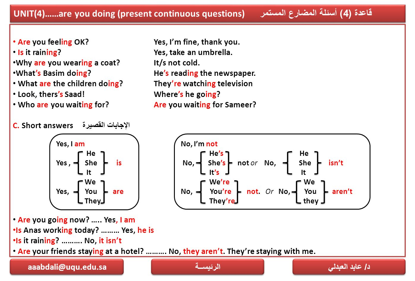 UNIT(4)……are you doing (present continuous questions) قاعدة (4) أسئلة المضارع المستمر Are you feeling OK?Yes, I'm fine, thank you. Is it raining?Yes,