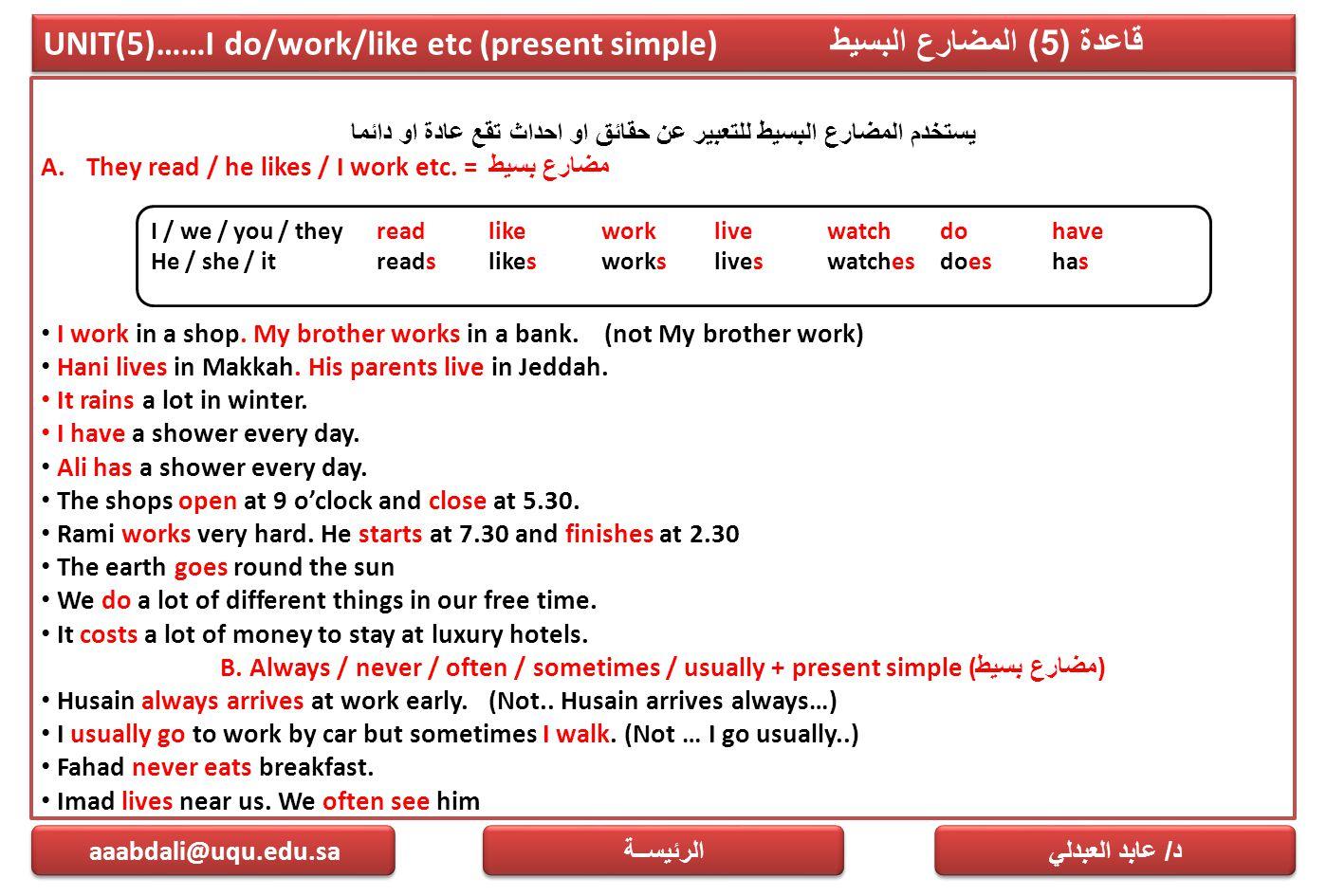 UNIT(5)……I do/work/like etc (present simple) قاعدة (5) المضارع البسيط يستخدم المضارع البسيط للتعبير عن حقائق او احداث تقع عادة او دائما A.They read /