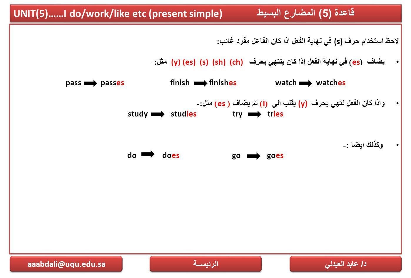 UNIT(5)……I do/work/like etc (present simple) قاعدة (5) المضارع البسيط لاحظ استخدام حرف (s) في نهاية الفعل اذا كان الفاعل مفرد غائب : يضاف (es) في نهاي