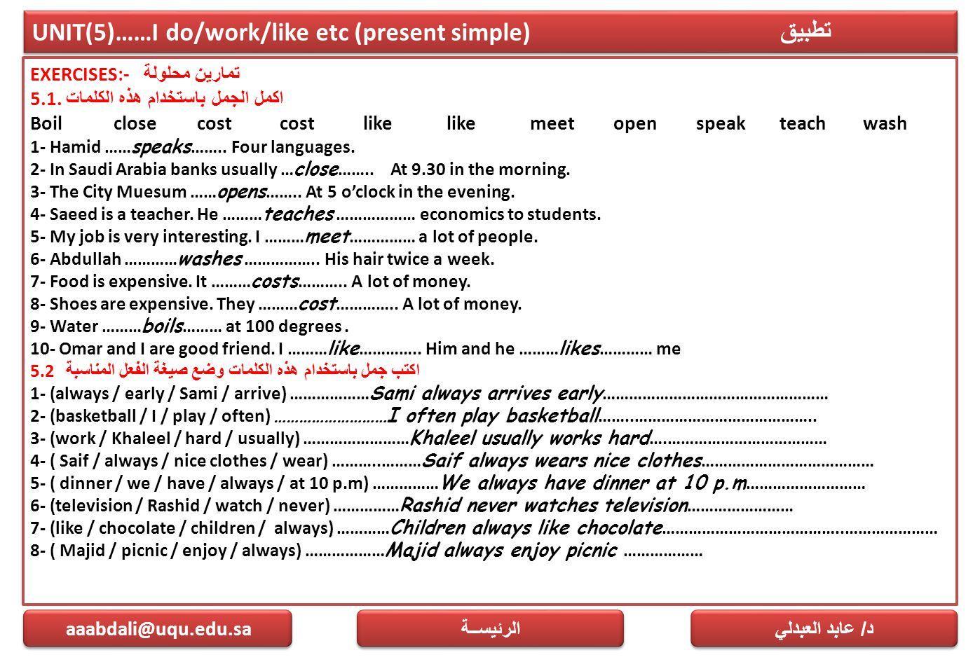 UNIT(5)……I do/work/like etc (present simple) تطبيق EXERCISES:- تمارين محلولة 5.1. اكمل الجمل باستخدام هذه الكلمات Boilclosecostcostlikelikemeetopenspe