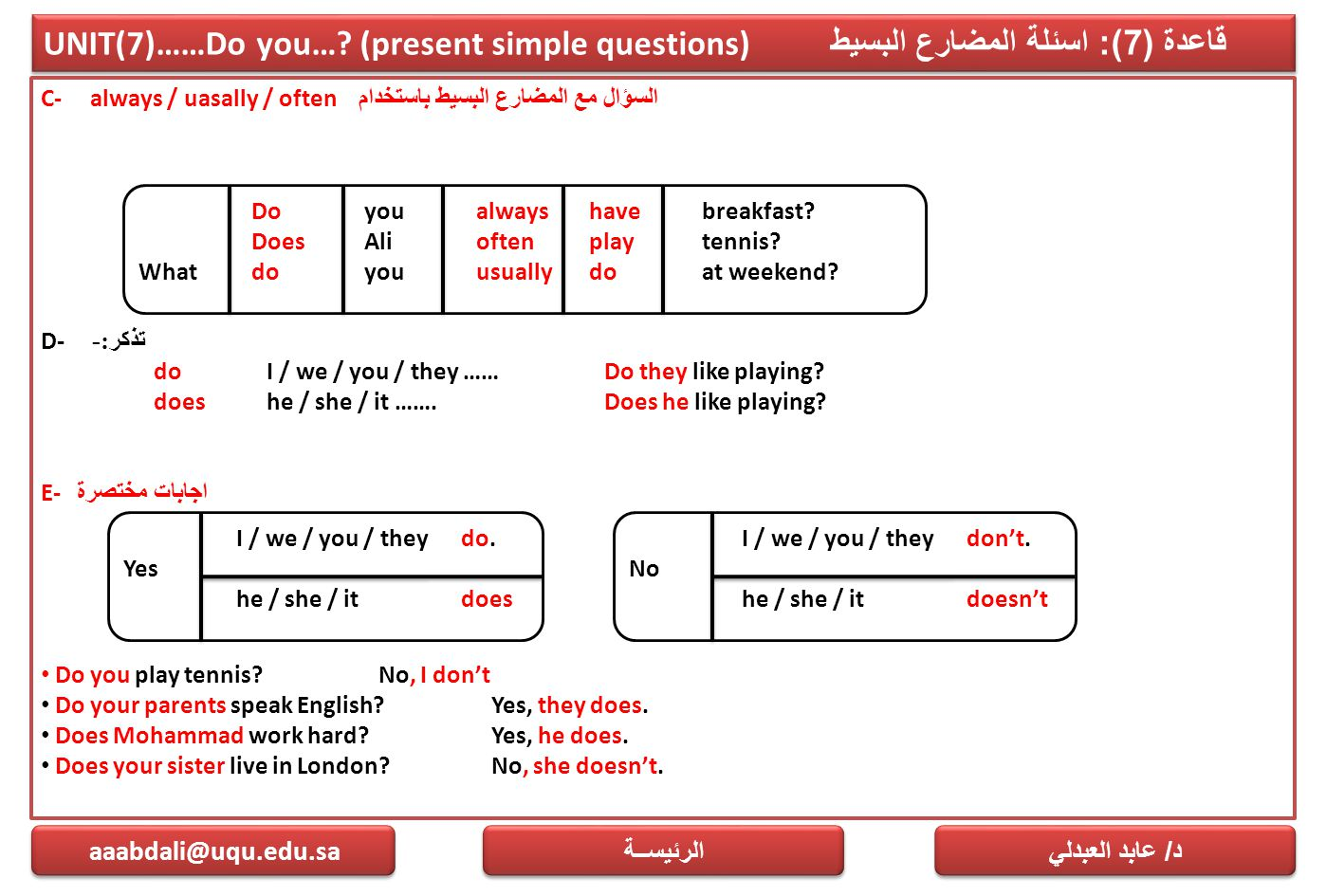 UNIT(7)……Do you…? (present simple questions) قاعدة (7): اسئلة المضارع البسيط C- always / uasally / often السؤال مع المضارع البسيط باستخدام D- تذكر :-