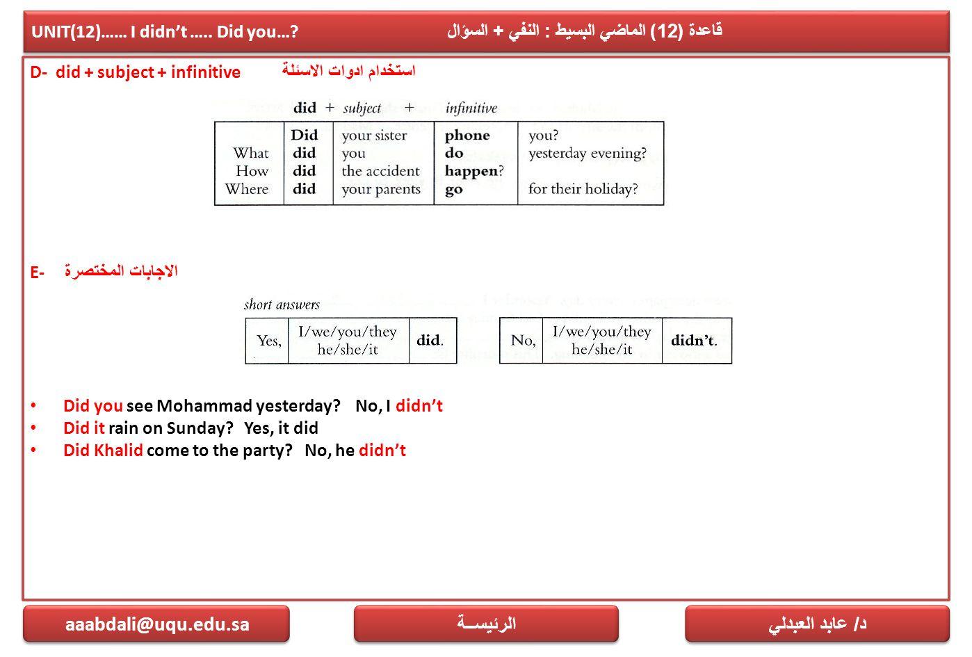 UNIT(12)…… I didn't ….. Did you…? قاعدة (12) الماضي البسيط : النفي + السؤال D- did + subject + infinitive استخدام ادوات الاسئلة E- الاجابات المختصرة D