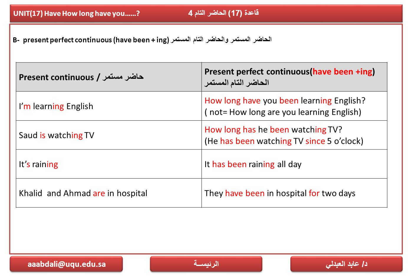 UNIT(17) Have How long have you……? قاعدة (17) الحاضر التام 4 B- present perfect continuous (have been + ing) الحاضر المستمر والحاضر التام المستمر د /