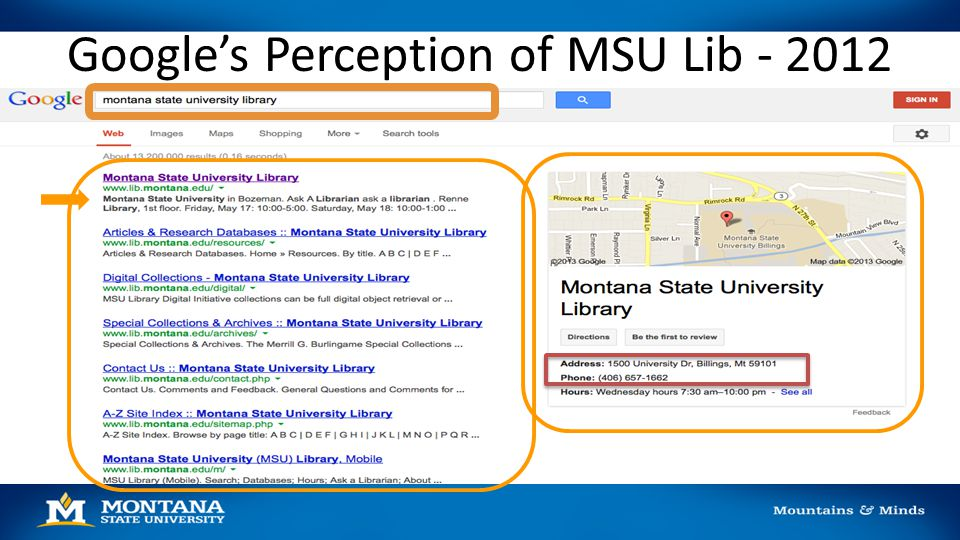 Google's Perception of MSU Lib - 2012