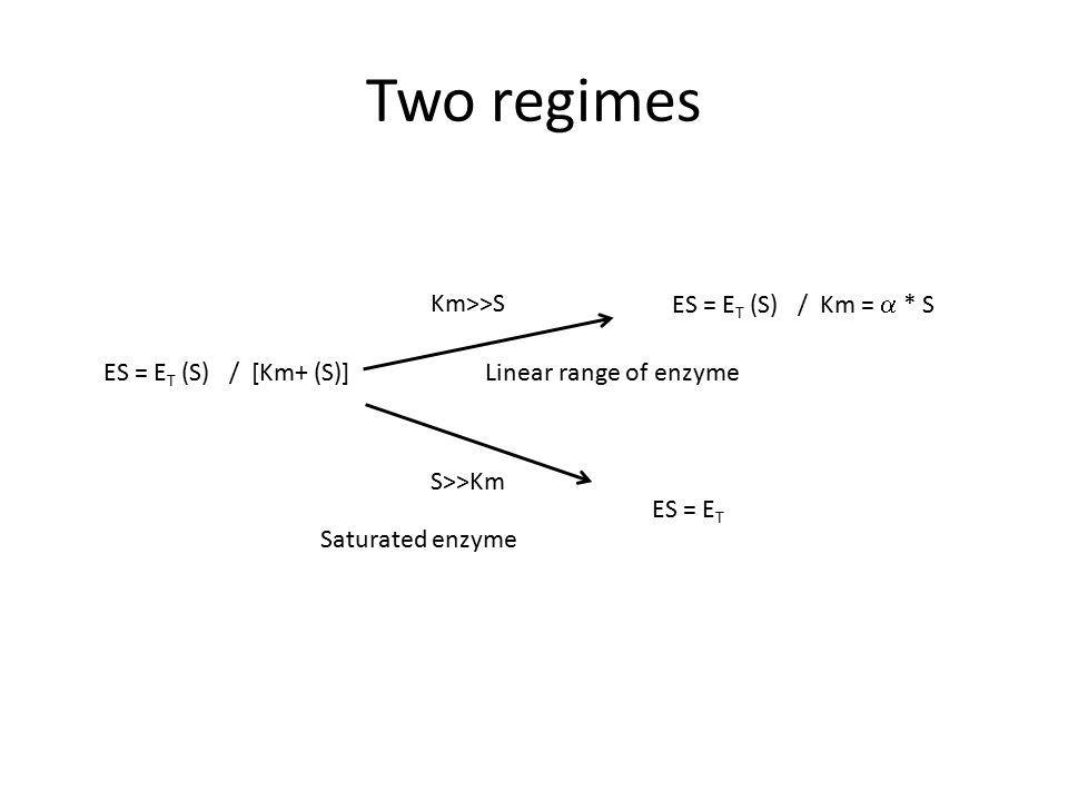 Km>>S ES = E T (S) / Km =  * S Linear range of enzyme S>>Km Saturated enzyme ES = E T Two regimes