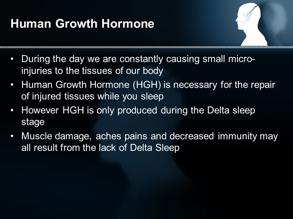 Human Growth Hormone During the day we are constantly causing small micro- injuries to the tissues of our body Human Growth Hormone (HGH) is necessary for the repair of injured tissues while you sleep However HGH is only produced during the Delta sleep stage Muscle damage, aches pains and decreased immunity may all result from the lack of Delta Sleep