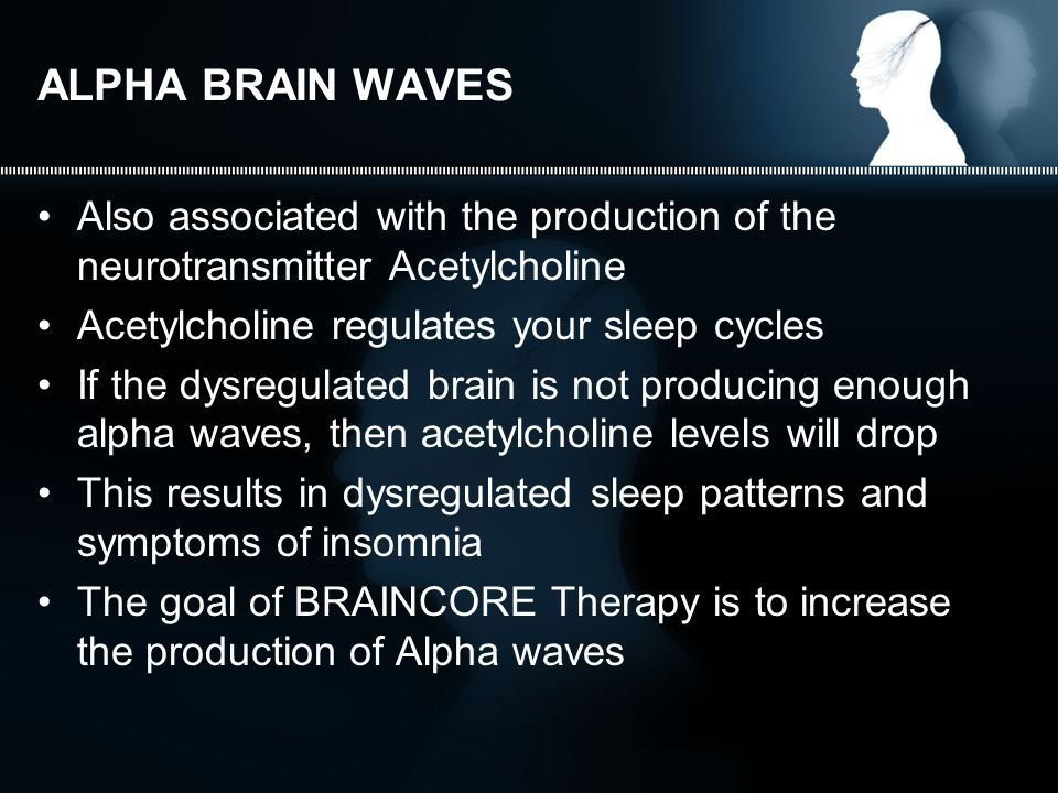 ALPHA BRAIN WAVES Also associated with the production of the neurotransmitter Acetylcholine Acetylcholine regulates your sleep cycles If the dysregulated brain is not producing enough alpha waves, then acetylcholine levels will drop This results in dysregulated sleep patterns and symptoms of insomnia The goal of BRAINCORE Therapy is to increase the production of Alpha waves