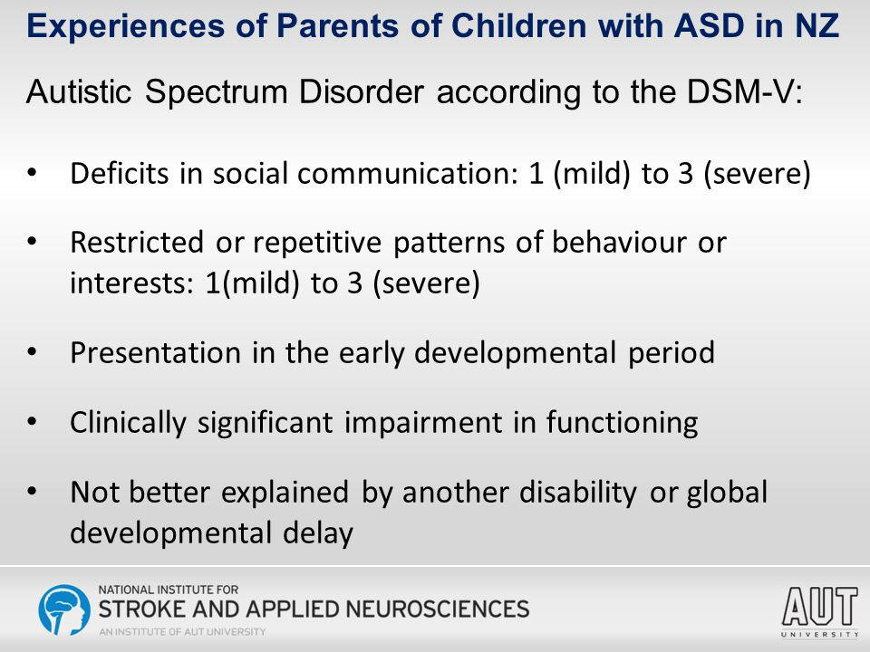 Measure Task- Related Stress Self- Esteem Disrupted Schedule Lack of Family Support Financial Problems Health Problems Carer Age-0.245**-0.283**-0.07-0.024-0.237**0.04 Child Age-0.270**-0.298**-0.181*-0.041-0.215*-0.52 Partner Support-.060-.024.050-.367**-.162*-.062 Family Support-.165*.094-.177*-.649**-.132-.292** Friends Support-.199**.123-.163*-.439**-.062-.142 Professional Support.046-.002-.029-.271**-.039-.080 AIM: Restricted/Ritualized Behaviour.549**.056.260**.153.303**.155 AIM: Communication/ Language.542**.100.197*-.046.169*-.001 AIM: Social-Emotional Reciprocity.477**-.050.236**.031.085.143 AIM: Odd/Atypical Behaviour.548**-.031.220**.107.161*.202* Problem-Focused Coping.353**.055.234**.003.209**.045 Emotion-Focused Coping.317**.070.155*-.035.142.060 Maladaptive Coping.388**-.342**.396**.313**.152*.467** *p<.05; **p<.001 Experiences of Parents of Children with ASD in NZ