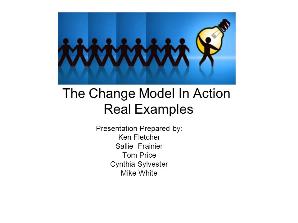 The Change Model In Action Real Examples Presentation Prepared by: Ken Fletcher Sallie Frainier Tom Price Cynthia Sylvester Mike White
