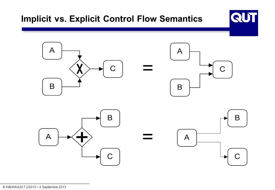 © INB/INN320 7.2/2013 – 5 September 2013 Implicit vs. Explicit Control Flow Semantics