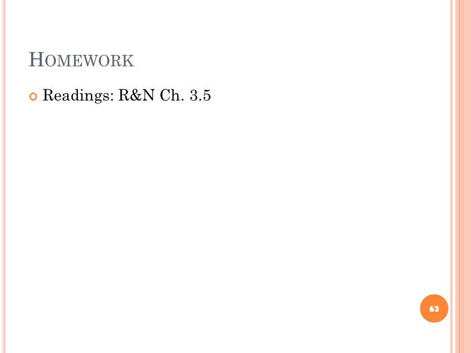 H OMEWORK Readings: R&N Ch. 3.5 63