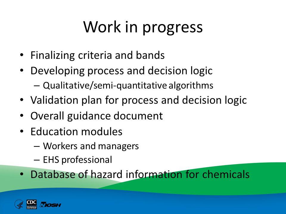 Work in progress Finalizing criteria and bands Developing process and decision logic – Qualitative/semi-quantitative algorithms Validation plan for pr