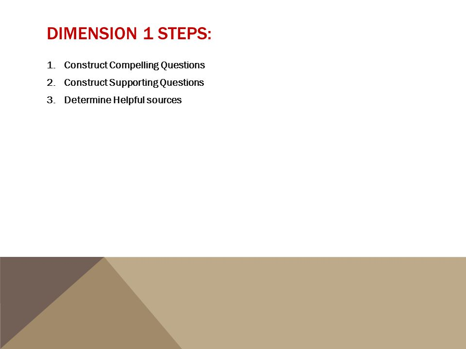 DIMENSION 1 STEPS: 1.Construct Compelling Questions 2.Construct Supporting Questions 3.Determine Helpful sources