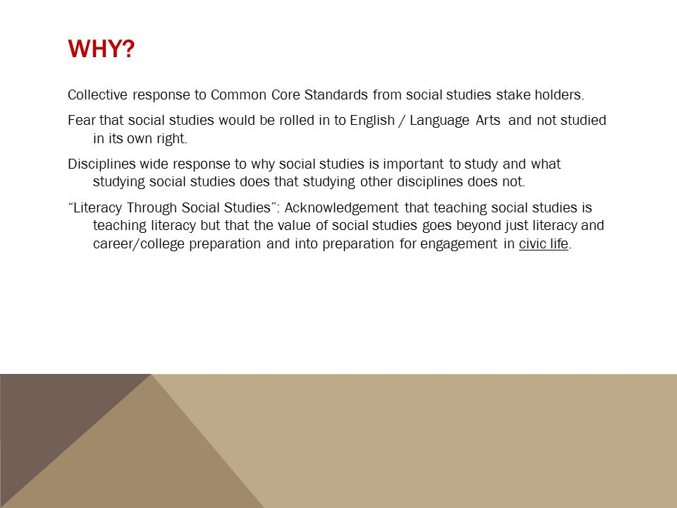 WHY? Collective response to Common Core Standards from social studies stake holders. Fear that social studies would be rolled in to English / Language