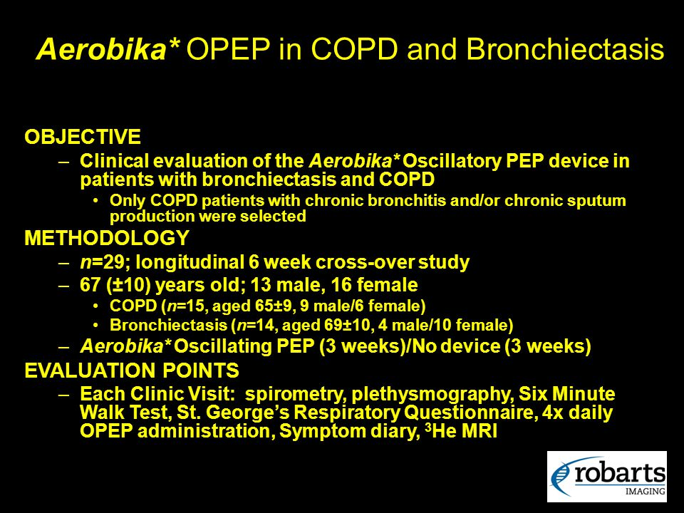 Aerobika* OPEP in COPD and Bronchiectasis OBJECTIVE –Clinical evaluation of the Aerobika* Oscillatory PEP device in patients with bronchiectasis and C