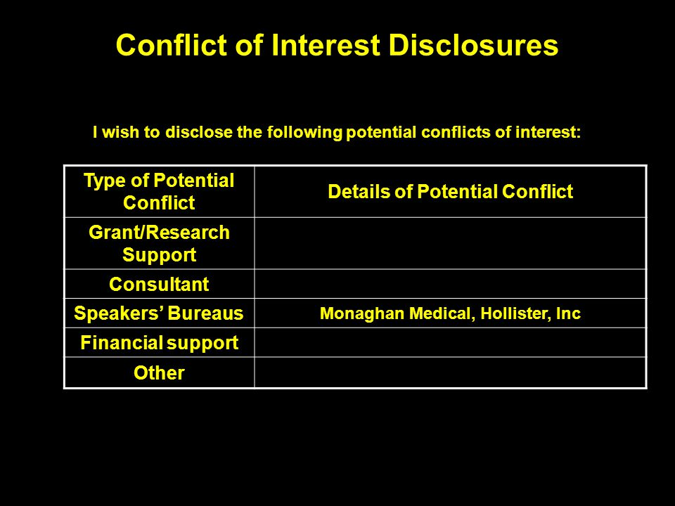 Conflict of Interest Disclosures I wish to disclose the following potential conflicts of interest: Type of Potential Conflict Details of Potential Con