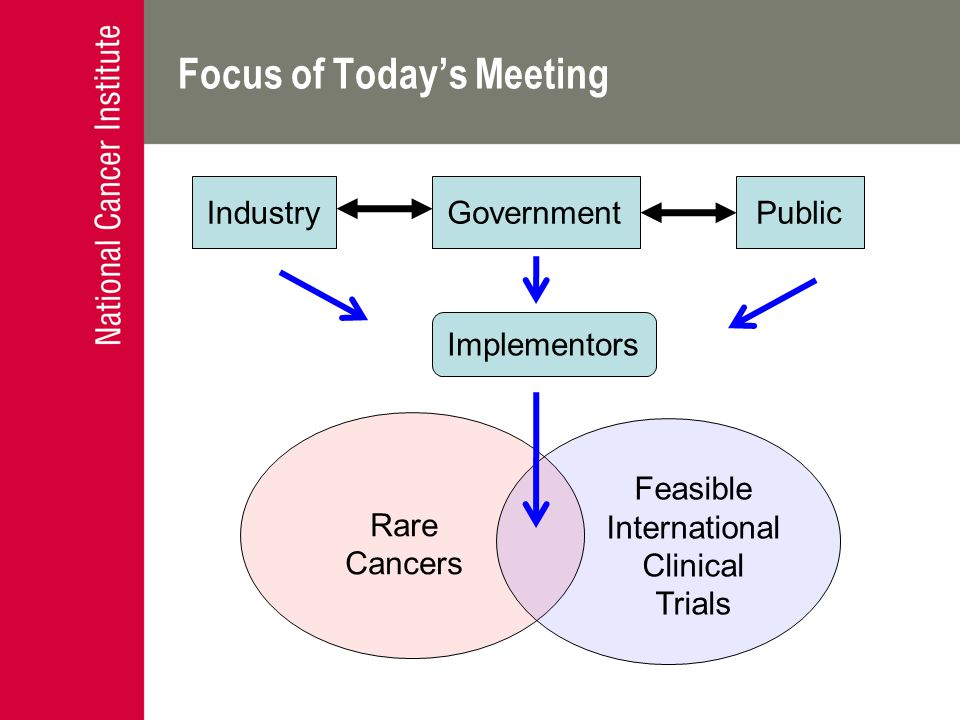 Focus of Today's Meeting Rare Cancers Feasible International Clinical Trials Implementors GovernmentPublicIndustry
