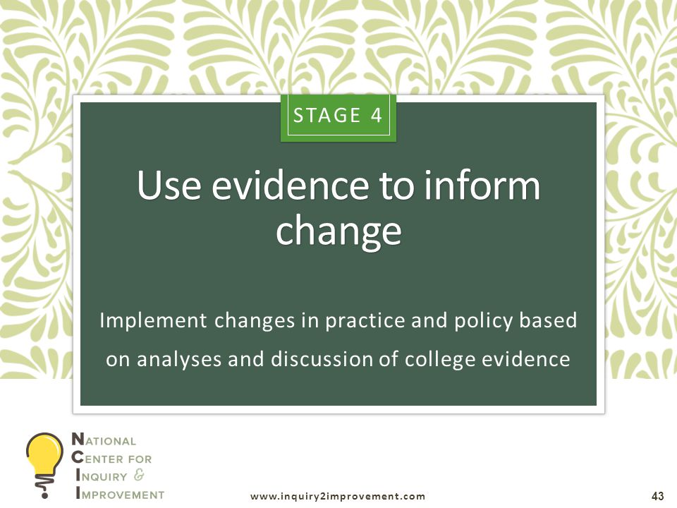 www.inquiry2improvement.com Use evidence to inform change 43 Implement changes in practice and policy based on analyses and discussion of college evidence STAGE 4