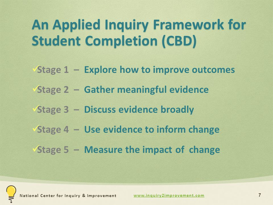 www.inquiry2improvement.com National Center for Inquiry & Improvement An Applied Inquiry Framework for Student Completion (CBD) 7 Stage 1 – Explore how to improve outcomes Stage 2 – Gather meaningful evidence Stage 3 – Discuss evidence broadly Stage 4 – Use evidence to inform change Stage 5 – Measure the impact of change