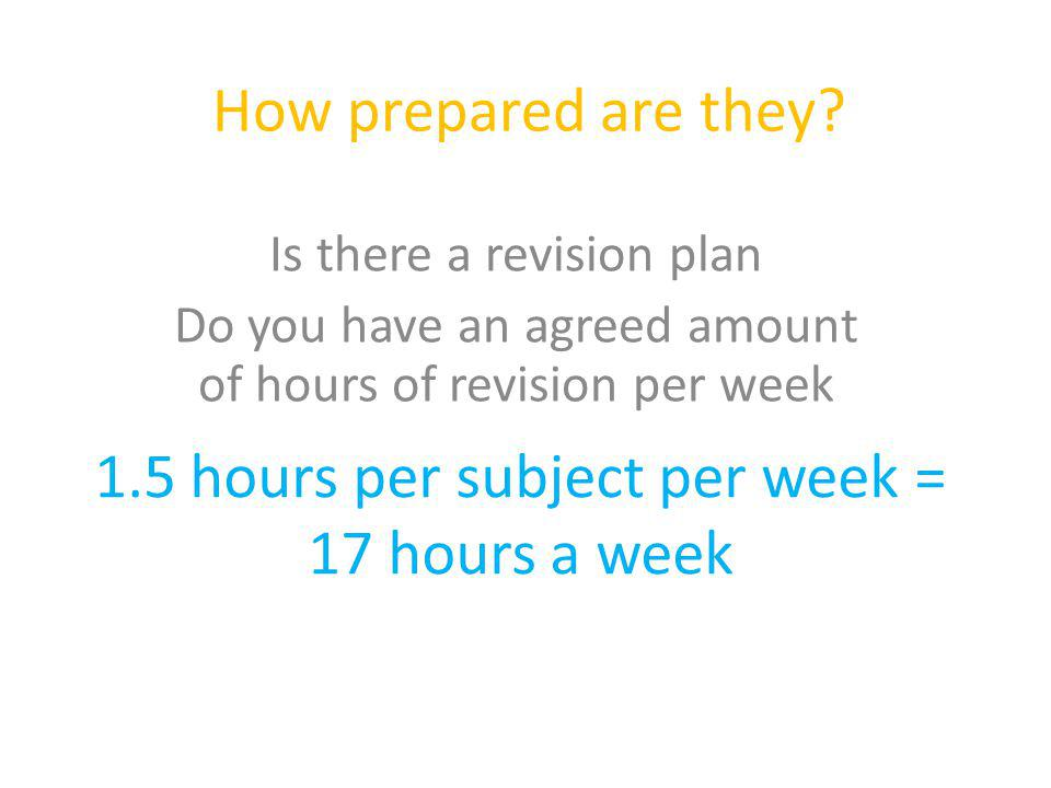 How prepared are they? Is there a revision plan Do you have an agreed amount of hours of revision per week 1.5 hours per subject per week = 17 hours a