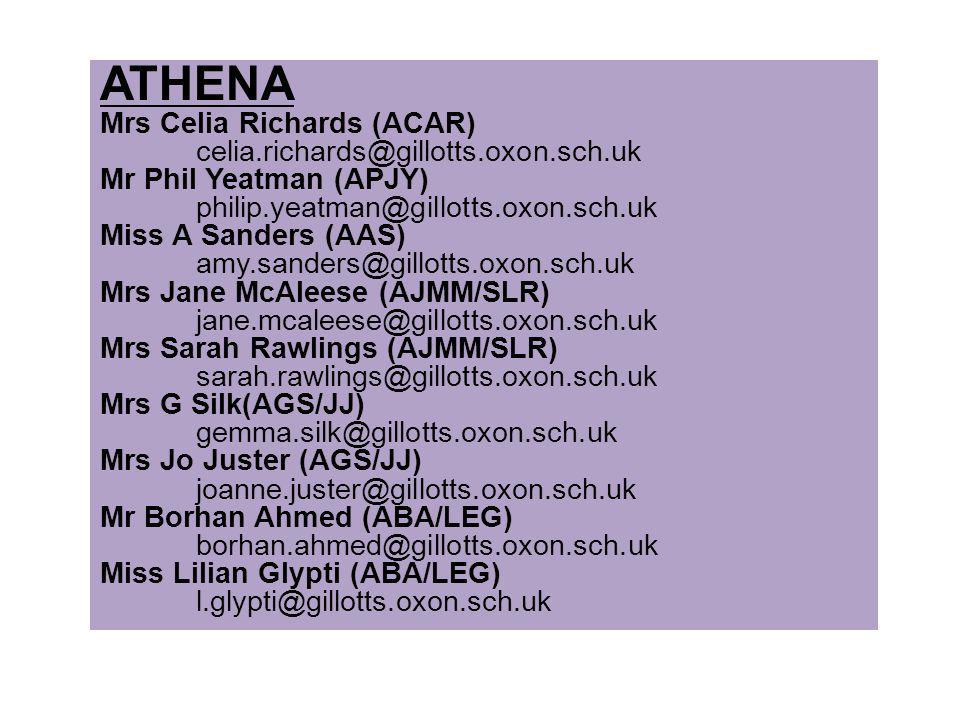 ATHENA Mrs Celia Richards (ACAR) celia.richards@gillotts.oxon.sch.uk Mr Phil Yeatman (APJY) philip.yeatman@gillotts.oxon.sch.uk Miss A Sanders (AAS) a