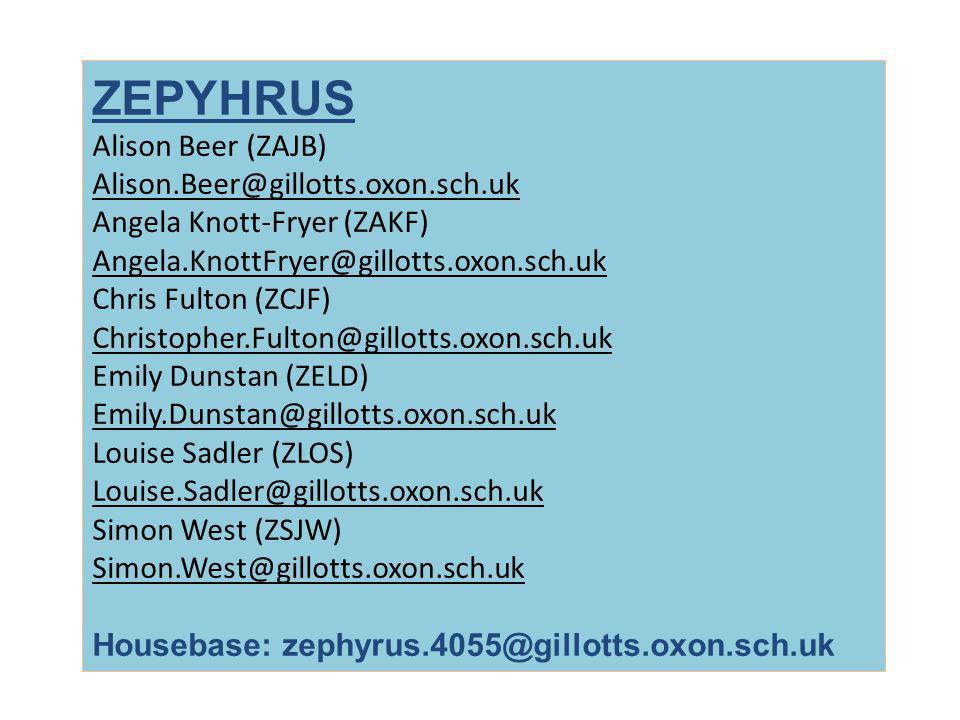 ZEPYHRUS Alison Beer (ZAJB) Alison.Beer@gillotts.oxon.sch.uk Angela Knott-Fryer (ZAKF) Angela.KnottFryer@gillotts.oxon.sch.uk Chris Fulton (ZCJF) Chri