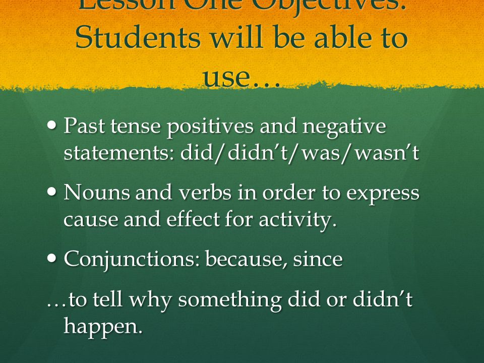 Lesson One Objectives: Students will be able to use… Past tense positives and negative statements: did/didn't/was/wasn't Past tense positives and negative statements: did/didn't/was/wasn't Nouns and verbs in order to express cause and effect for activity.