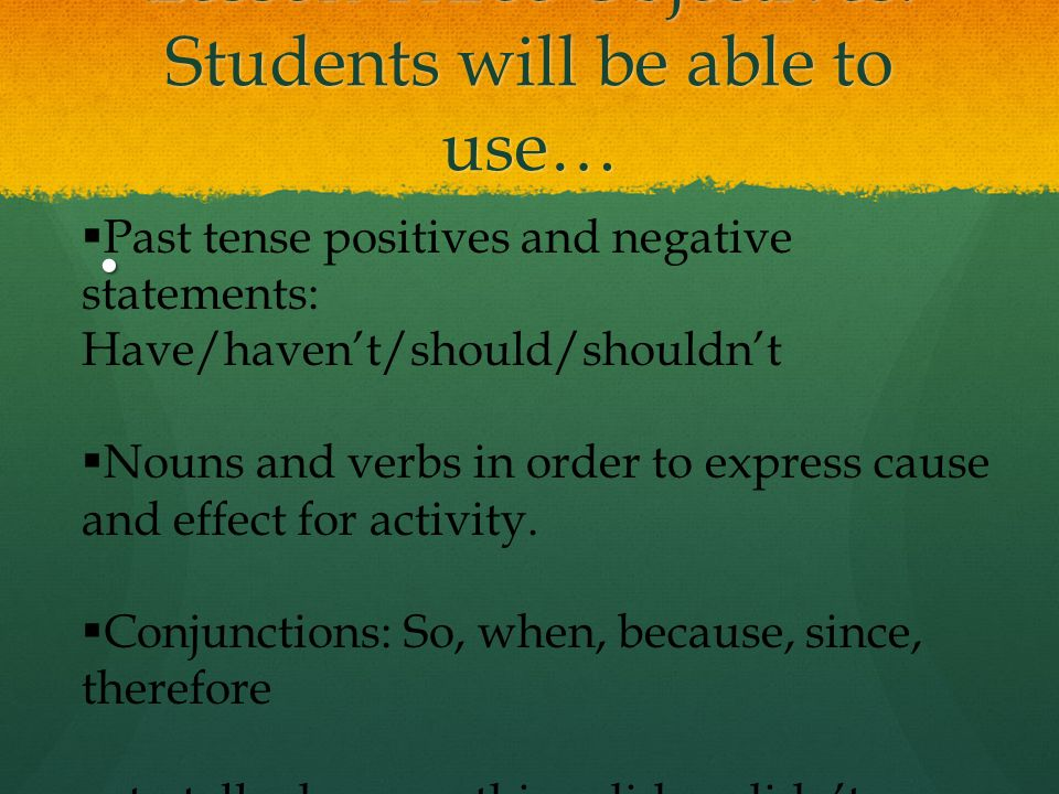 Lesson Three Objectives: Students will be able to use…  Past tense positives and negative statements: Have/haven't/should/shouldn't  Nouns and verbs in order to express cause and effect for activity.