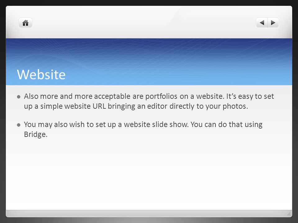 Website Also more and more acceptable are portfolios on a website.
