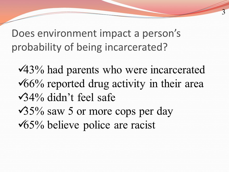 Does environment impact a person's probability of being incarcerated? 43% had parents who were incarcerated 66% reported drug activity in their area 3