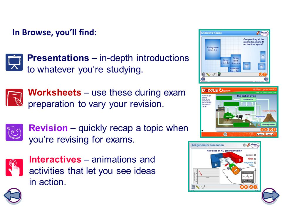 In Browse, you'll find: Presentations – in-depth introductions to whatever you're studying. Worksheets – use these during exam preparation to vary you