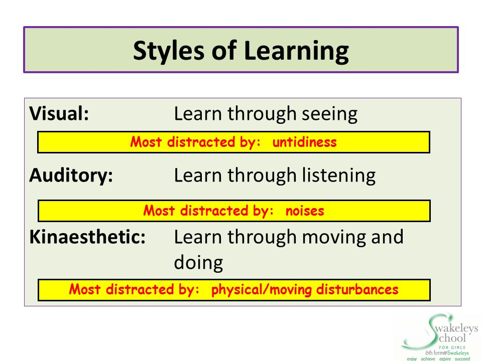 Styles of Learning Visual:Learn through seeing Auditory:Learn through listening Kinaesthetic:Learn through moving and doing Most distracted by: untidi