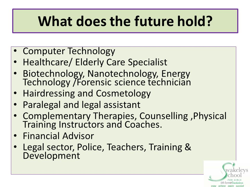 What does the future hold? Computer Technology Healthcare/ Elderly Care Specialist Biotechnology, Nanotechnology, Energy Technology /Forensic science