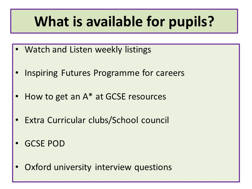Watch and Listen weekly listings Inspiring Futures Programme for careers How to get an A* at GCSE resources Extra Curricular clubs/School council GCSE