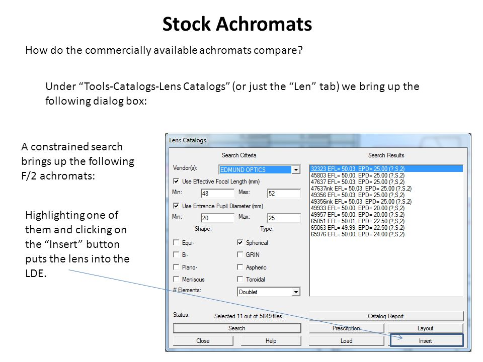 """Stock Achromats How do the commercially available achromats compare? Under """"Tools-Catalogs-Lens Catalogs"""" (or just the """"Len"""" tab) we bring up the foll"""