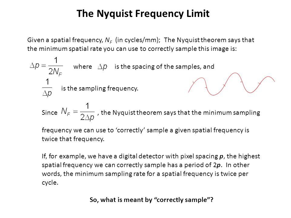 The Nyquist Frequency Limit Given a spatial frequency, N F (in cycles/mm); The Nyquist theorem says that the minimum spatial rate you can use to corre