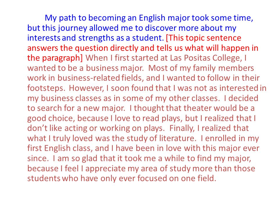 My path to becoming an English major took some time, but this journey allowed me to discover more about my interests and strengths as a student. [This