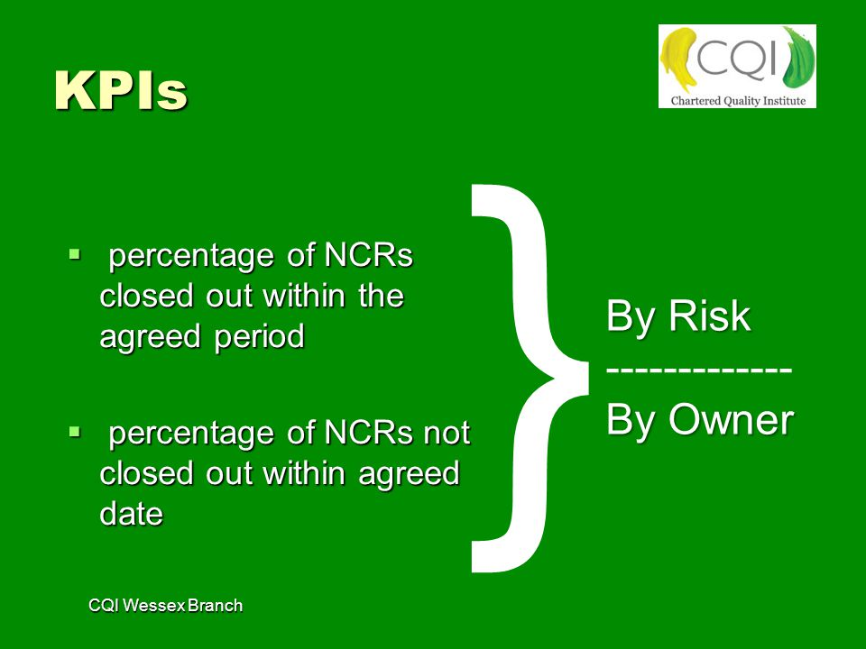 CQI Wessex Branch KPIs  percentage of NCRs closed out within the agreed period  percentage of NCRs not closed out within agreed date By Risk ------------- By Owner }