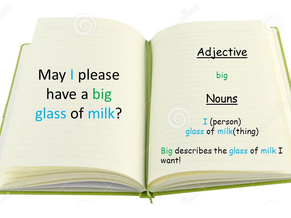 May I please have a big glass of milk? Adjective big Nouns I (person) glass of milk(thing) Big describes the glass of milk I want!
