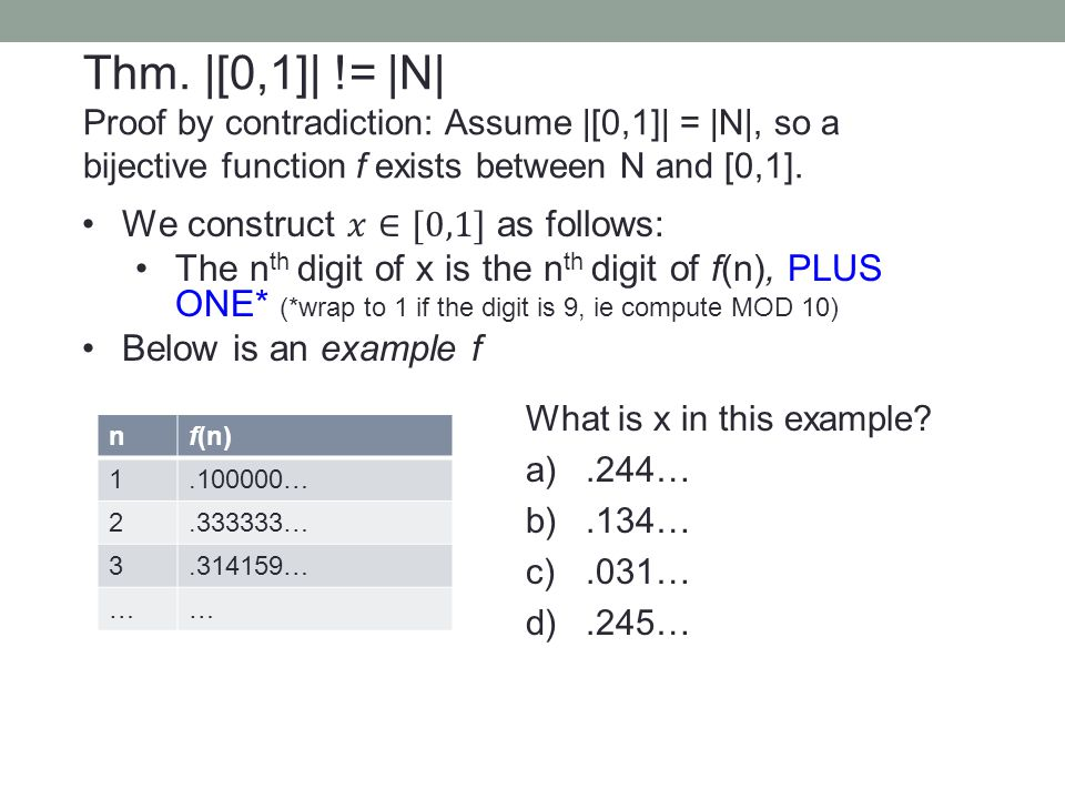 nf(n) 1.100000… 2.333333… 3.314159… …… What is x in this example? a).244… b).134… c).031… d).245… Thm. |[0,1]| != |N| Proof by contradiction: Assume |