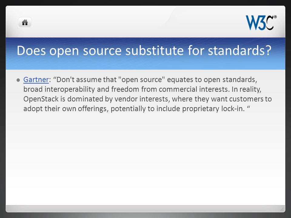 Does open source substitute for standards.