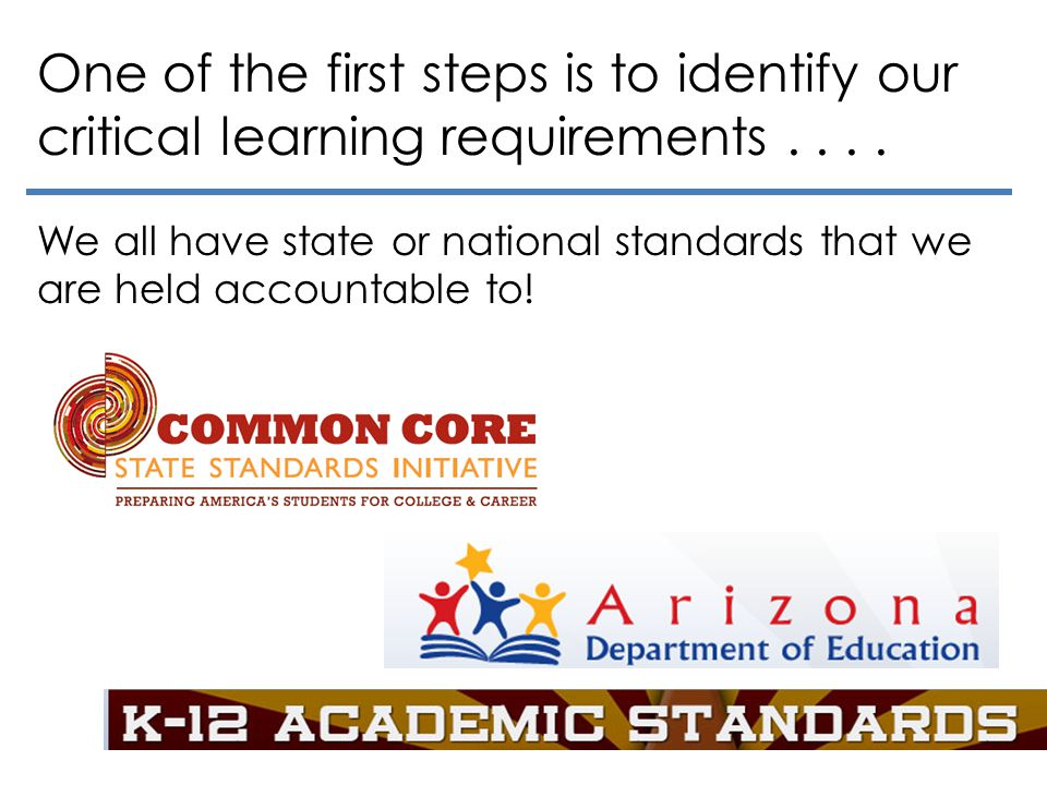One of the first steps is to identify our critical learning requirements.... We all have state or national standards that we are held accountable to!