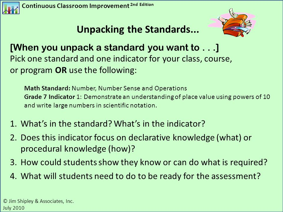 Continuous Classroom Improvement 2nd Edition © Jim Shipley & Associates, Inc. July 2010 [When you unpack a standard you want to...] Pick one standard
