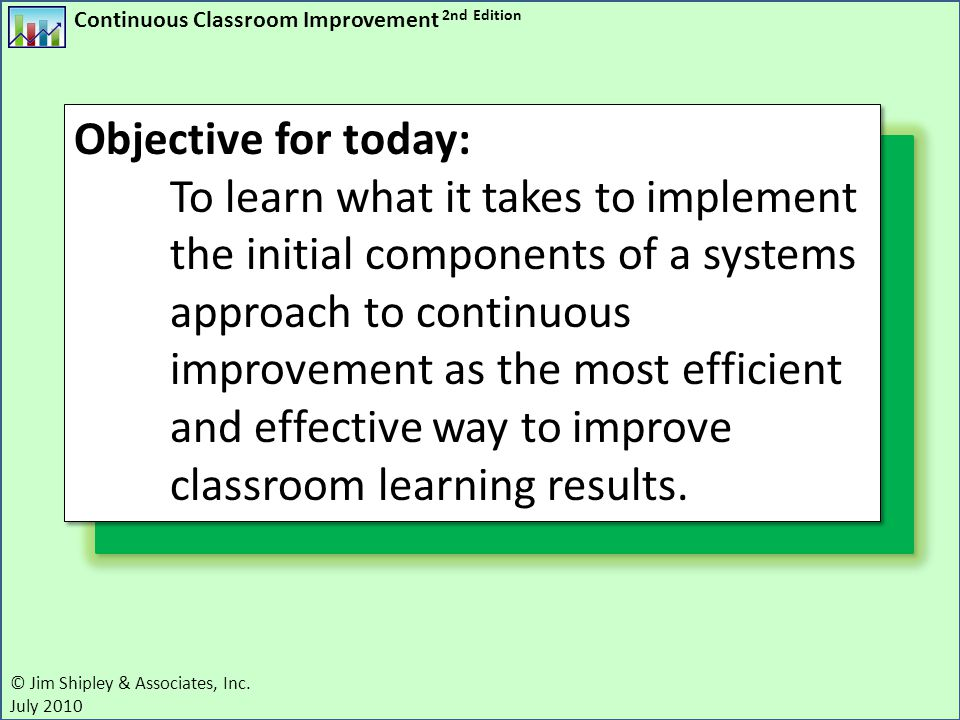 Continuous Classroom Improvement 2nd Edition © Jim Shipley & Associates, Inc. July 2010 Objective for today: To learn what it takes to implement the i