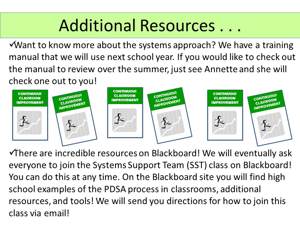 Want to know more about the systems approach? We have a training manual that we will use next school year. If you would like to check out the manual t