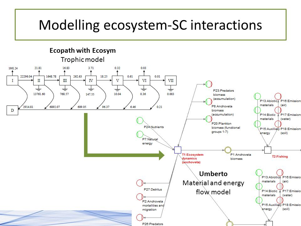 6 Modelling ecosystem-SC interactions Ecopath with Ecosym Trophic model Umberto Material and energy flow model