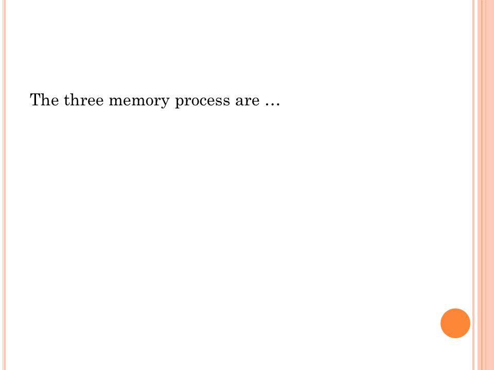 The three memory process are …